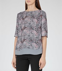 Reiss Chase Womens Printed Top In Blue