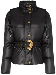 Versace Hooded Belted Feather Down Puffer Jacket Black