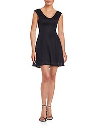 Saks Fifth Avenue Knit V Neck Fit And Flare Dress Black