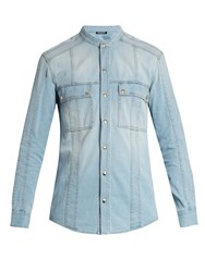 Balmain Collarless Denim Shirt Blue