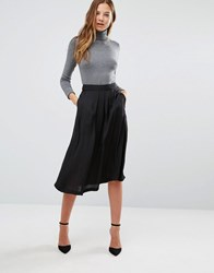 Mango Satin Midi Skirt Black