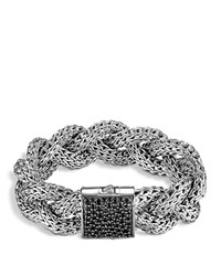 John Hardy Large Braided Classic Chain Silver Bracelet With Black Sapphires Black Silver