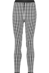 Balmain Checked Stretch Knit Leggings Black