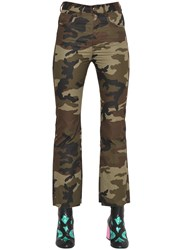 Maison Martin Margiela Cropped And Flared Camouflage Cotton Pants