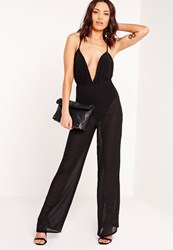 Missguided Sheer Wide Leg Trousers Black Black