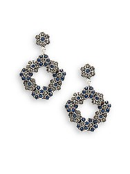 Azaara Vintage Montana And Black Diamond Swarovski Crystal Silverplated Floral Drop Earrings