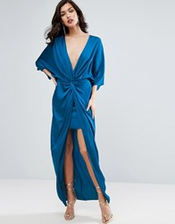 Asos Kimono Twist Front Maxi Dress Teal Navy