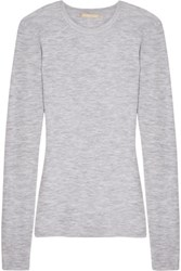 Michael Kors Collection Ribbed Cashmere Top Light Gray