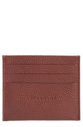Longchamp Women's 'Le Foulonne' Pebbled Leather Card Holder Red Red Lacquer
