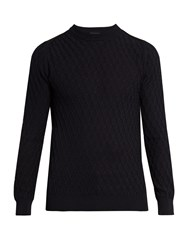 Lanvin Crew Neck Diamond Cable Knit Cotton Sweater Navy