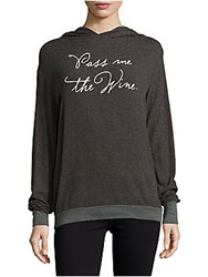 Wildfox Couture Long Sleeve Heathered Hoodie Dirty Black