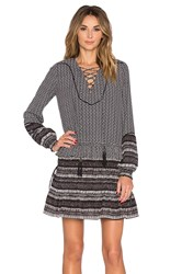 Twelfth St. By Cynthia Vincent Mixed Print Front Lace Up Dress Black