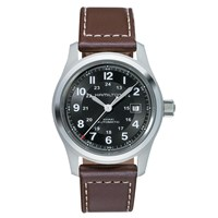 Hamilton H70555533 Men's Khaki Field Automatic Date Leather Strap Watch Dark Brown Black
