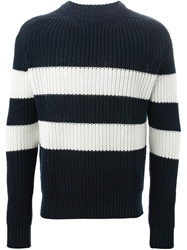 E. Tautz Wide Stripe Ribbed Sweater Blue