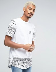 Asos Super Longline T Shirt With Paisley Sleeve And Hem White