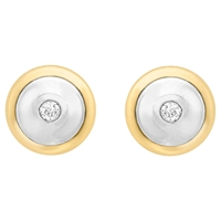 Ibb 9Ct Gold Cubic Zirconia Disc Stud Earrings Gold