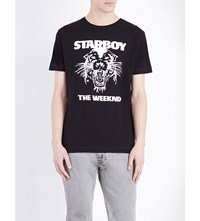 The Weeknd Wild Cat Print Cotton Jersey T Shirt Black