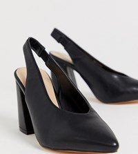 London Rebel Wide Fit Pointed Block Heels Black