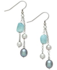 Macy's Milky Aquamarine 6 X 8Mm With White And Gray Cultured Freshwater Pearl 5Mm And 7Mm Chain Drop Earrings In Sterling Silver