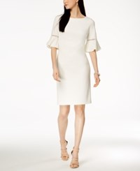 Jessica Howard Bell Sleeve Sheath Dress White