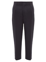 Ami Alexandre Mattiussi High Rise Cropped Wool Trousers Navy