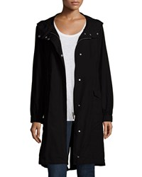 Eileen Fisher Hooded Long Anorak Jacket Petite Black