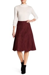 Catherine Malandrino Faux Suede A Line Skirt Red