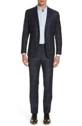Eidos Napoli Trim Fit Plaid Wool Suit Charcoal Blue