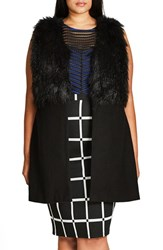 City Chic Plus Size Women's Rococo Faux Fur Trim Vest