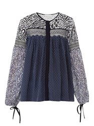Chloe Contrast Print Lace Panel Georgette Top Navy