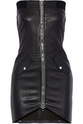 Rta Kenzie Strapless Zip Detailed Leather Mini Dress Black