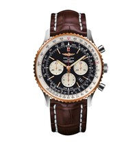 Breitling Stainless Steel And Rose Gold Navitimer Watch 46Mm Black