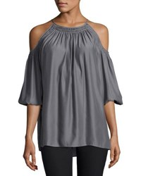 Max Studio Relaxed Cold Shoulder Blouse Black