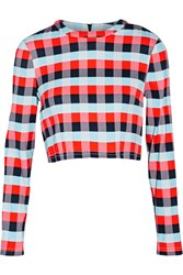 Tanya Taylor Cara Cropped Plaid Stretch Knit Top Red