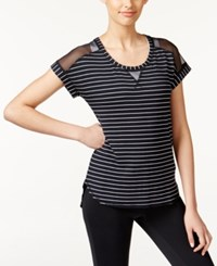 Ideology Striped Mesh T Shirt Only At Macy's Black White Stripe