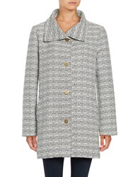 Ellen Tracy Tweed Button Front Jacket Black White