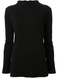 Pearl Long Slit Sleeves Blouse Black