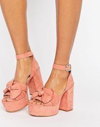 Asos Halo Platform Bow Sandals Rose Pink