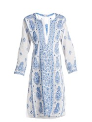 Juliet Dunn Paisley Embroidered Cotton Voile Kaftan White Multi