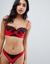 Ann Summers Alissa Lace Trim Satin Thong In Red Red Black