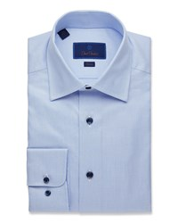 David Donahue Slim Fit Textured Dress Shirt Blue