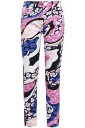 Emilio Pucci Woman Cropped Paneled Printed Skinny Jeans Pink