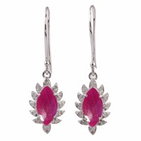 Meghna Jewels Claw Single Drop Marquise Earring Ruby And Diamonds Silver Pink Purple