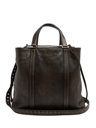 Valentino Washed Leather Tote Bag Brown Multi