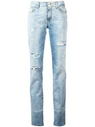 Versace Jeans Distressed Slim Fit Jeans Blue