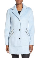 Women's Guess Zip Detail Reefer Coat Pastel Blue