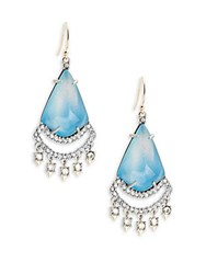 Alexis Bittar Dangling Crystal And Lucite Teardrop Pendant Earrings Blue Opal
