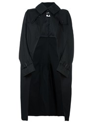 Comme Des Garcons Junya Watanabe Draped Trench Coat Black
