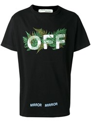 Off White Leaf Embroidered T Shirt Black