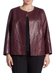 Lafayette 148 New York Callia Laser Cut Leather Jacket Wisteria